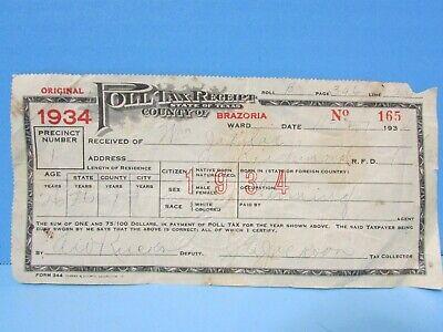 Vintage 1934 Poll Tax Receipt Brazoria County TX Historic Civil Rights Interest!