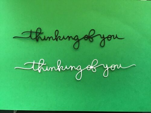 """thinking of you"" (word) Die Cut embellishments  6 pcs choose color 1"" x 5-1/2"""