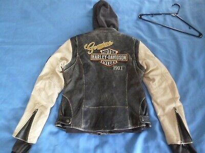 "Womens Harley Davidson ""Rallyrunner"" 3in 1 Leather Jacket Hoodie Sz M 98087-15VW"