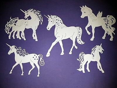 5 x Tattered Lace Unicorn Die Cuts - Card Making, Scrapbooking etc.