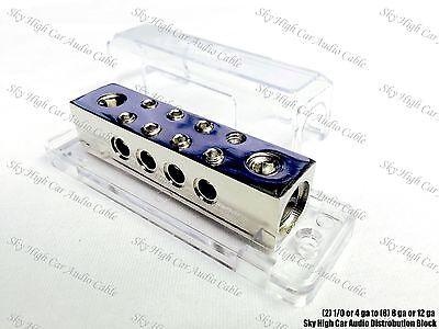 (2) 1/0 or 4 gauge to (8) 8 or 12 ga Distribution Block Car Audio Distro SHCA