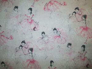 BALLERINA BALLET DANCE CLASSIC PINK WHITE COTTON FABRIC FQ