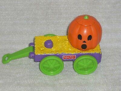 Fisher Price Little People Halloween Wagon Rare Cart with Pumpkin