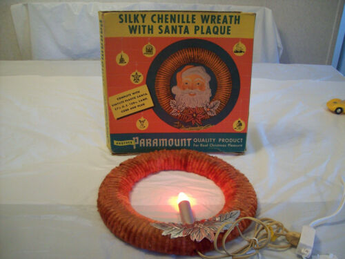 """VINTAGE 11"""" CHENILLE CHRISTMAS WREATH - C7 CANDLE - WORKS"""