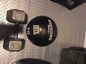 Dumbbells and medicine ball