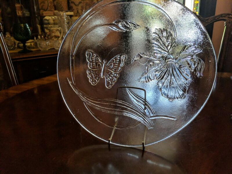 "LE Smith Crystal Iris & Butterfly Frosted/Clear Glass 13"" Party Plate Platter"