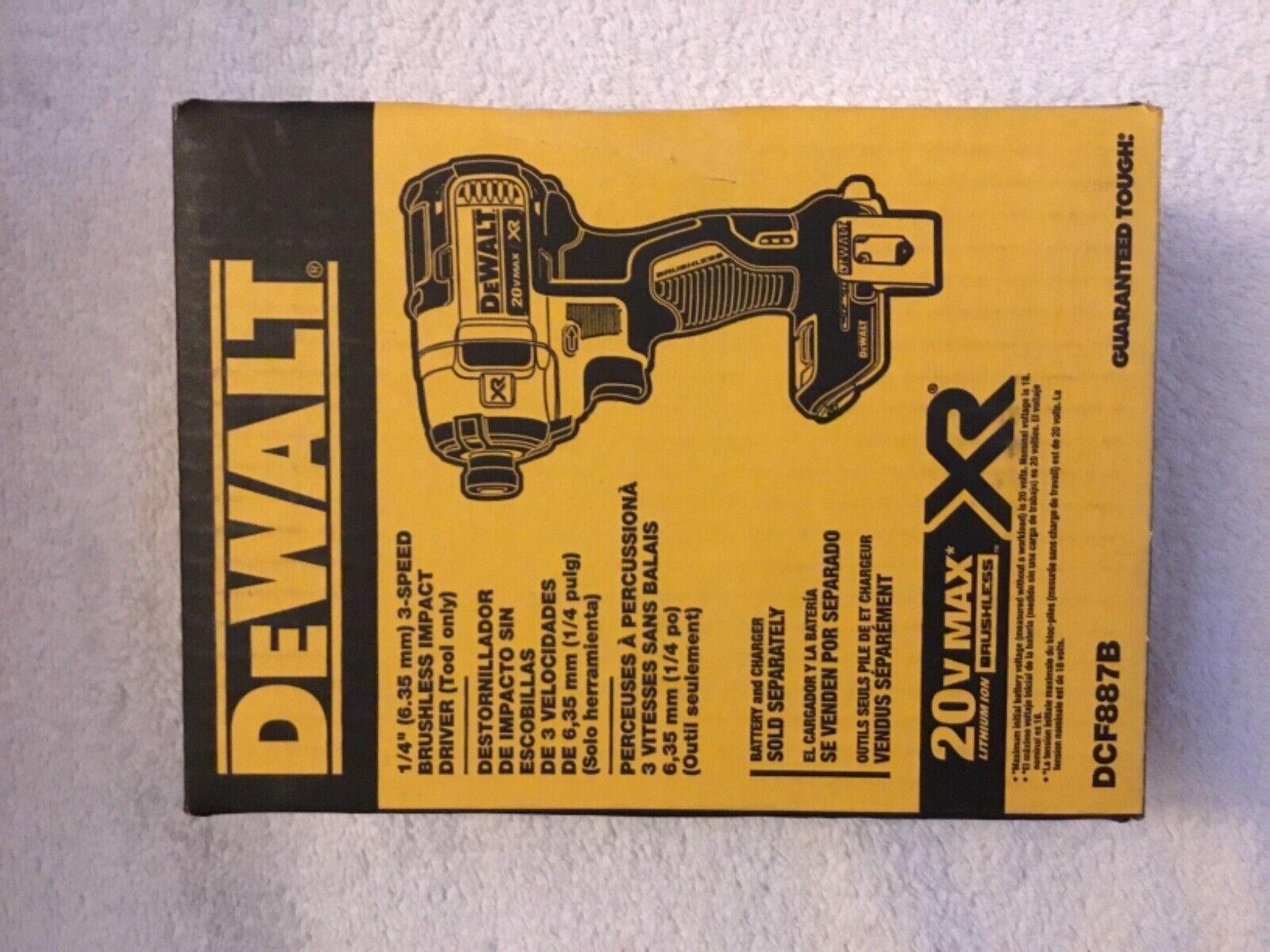 """New Dewalt DCF887B 1/4"""" 3 Speed 20V 20 Volt Max XR Brushless"""