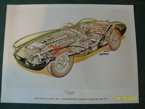 "Vintage ""Classic Cars"" Aston Martin DB-3S color print"