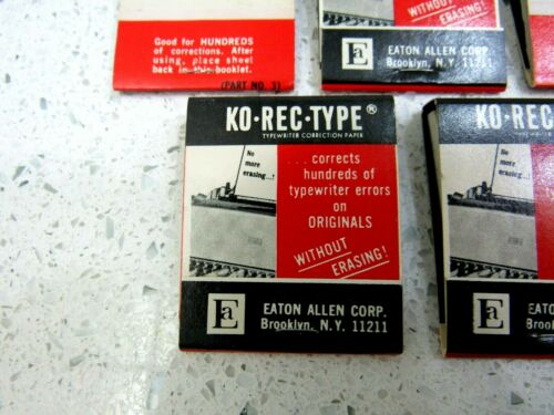 NOS VINTAGE KO-REC-TYPE TYPEWRITER CORRECTION FILM TABS PAPER MATCHBOOK BOOKLET