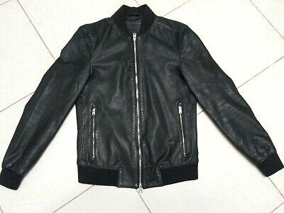 Allsaints Niko Black Leather Jacket Mens x Small