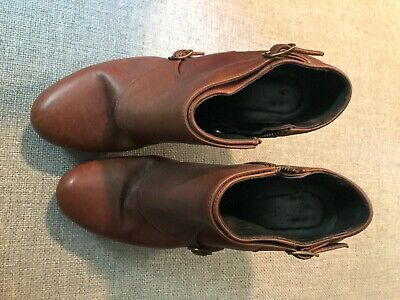"J Crew Women's Ankle Boots Brown Leather 4"" Heel Double Strap   Italy 8"