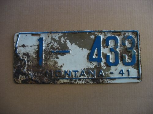 (1) Genuine 1941 Montana State License Plate #1-433 Prison Made Collectible #2