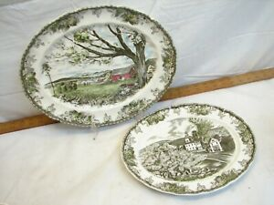 Johnson Bros Friendly Village Green Serving Platters Plates Harvest Time