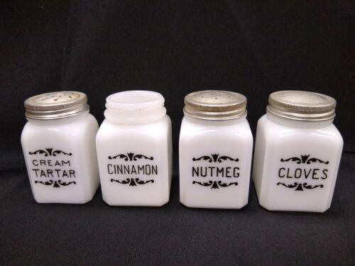 Lot of 4 Frank Tea milk glass spice shakers containers Dove brand Cincinnati