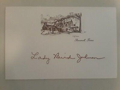 Lady Bird Johnson Autograph on LBJ Ranch Card