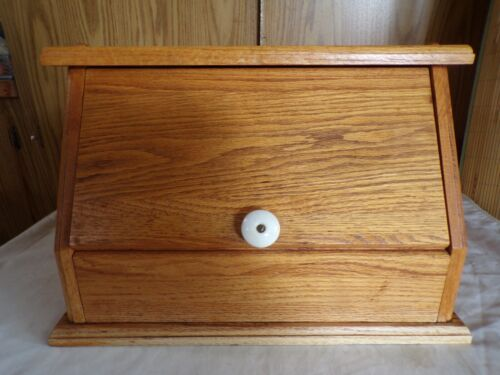 """(I) Light Oak Bread Box, Made Well,  Front 17"""" Wide"""