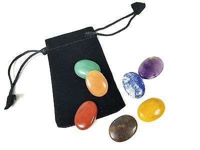 7 Chakra Worry Stone Set With Pouch Meditation Aid Pranic Healing Energy