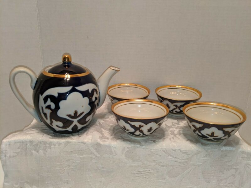 Uzbek Russian Porcelain Tea Set - Tea Pot And Four Cups Cobalt and Gold