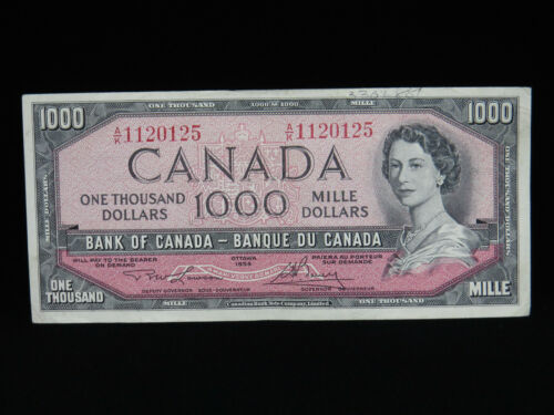 1954 $1000 Dollar Bank of Canada Banknote A/K1120125 Lawson Bouey VF+ Grade