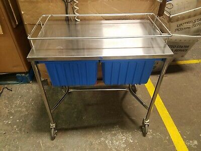 Stainless Steel Pedigo Medical Rolling Cart Table With Blue Plastic Drawers