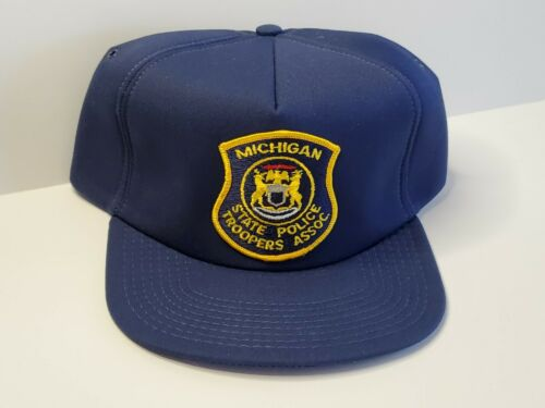 VTG 80s - MSPTA MICHIGAN STATE POLICE TROOPERS ASSOC. Snapback FOAM Hat Cap USA