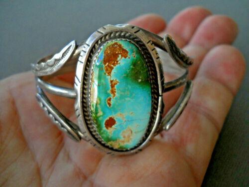 GILBERT TOM Native American Navajo Royston Turquoise Sterling Silver Bracelet