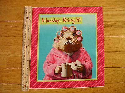 Monday.. Bring It! Mouse Coffee Robe Cotton Quilt Fabric Block 11 3/4