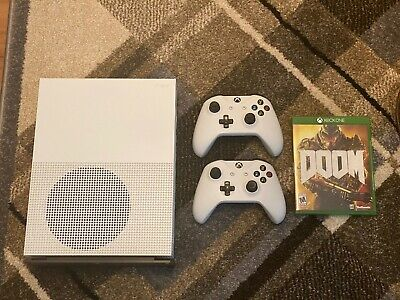 Microsoft Xbox One S Launch Edition 2TB White Console Two Controllers DOOM