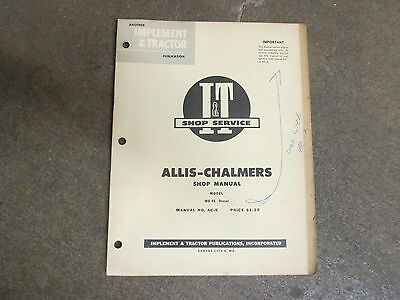 Allis Chalmers Wd45 Diesel Tractor I T Service Repair Manual
