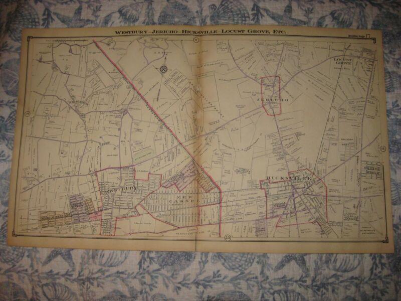 ANTIQUE 1914 WOODBURY HICKSVILLE JERICHO NEW CASSEL WESTBURY NEW YORK MAP RARE