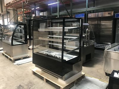 48 Curved Glass Black Refrigerated Deli Bakery Display Case Nsf Etl Cooler Depo