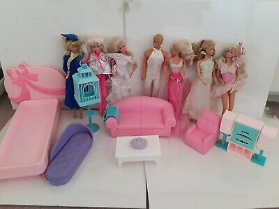 Vintage 1970's & 1980'sBarbie Doll House Mattel Furniture Accessories and Dolls