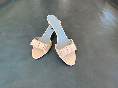 ZARA Beige Leather Slip On Kitten Heel Sandals Shoes EUR 37  US 6.5 - 7  SPAIN