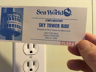 Vintage 2000 Sea World complimentary Sky Tower Ride ticket