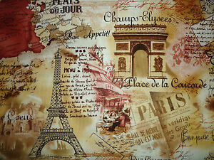 FQ PARIS EIFFEL LANDMARKS POSTCARDS STAMPS NEWSPAPER LETTERS MAPS FABRIC VINTAGE