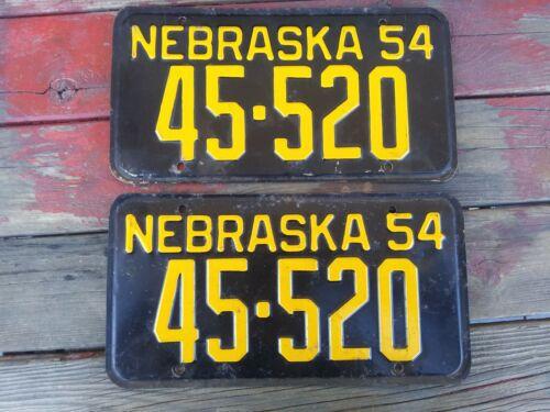 1954 NEBRASKA LICENSE PLATE PAIR 45-520 WEBSTER COUNTY