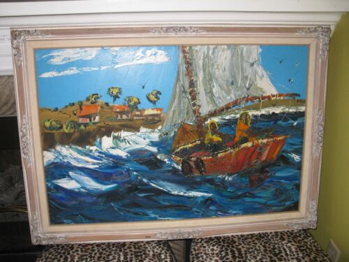 FREE SHIP CONT. USA, ORIGINAL BILL DICKEY, COASTAL SEASCAPE OIL PAINTING, NR