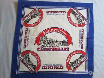 Vtg New Budweiser Beer Clydesdales  Collector Neckerchief Scarf  Blue Red 22x21