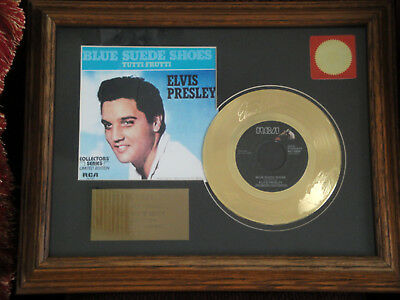 Elvis Blue Suede Shoes 35th Anniversary Etched Gold Plated Record Framed RARE