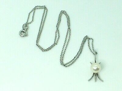"Mikimoto SS 6.3mm Akoya Pearl ""star ray"" motif pendant necklace..16""..1.8gm"