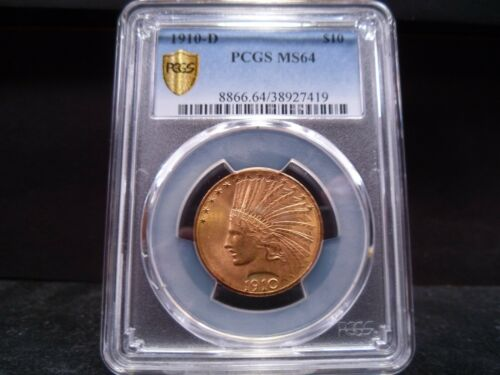 1910-D MS64 $10 Indian Eagle PCGS Certified Gold Shield Holder - PQ