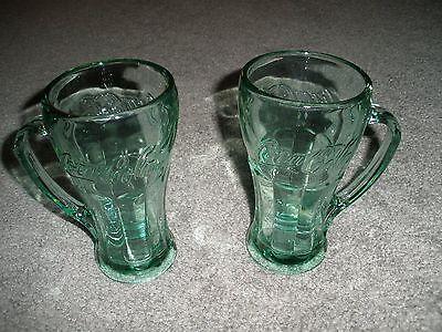 Coca‑Cola Green Glass‑ 14.5 oz Genuine Mug Set of 2 Coke Mugs Steins NEVER USED!