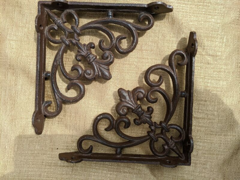 SET CAST IRON ANTIQUE STYLE SHELF BRACKETS SCROLL BROWN RUSTIC SHABBY WROUGHT