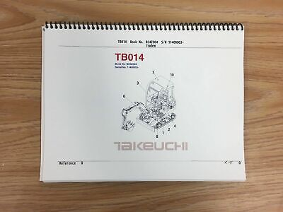 Takeuchi Tb014 Parts Manual Sn 11400003 And Up Free Priority Shipping