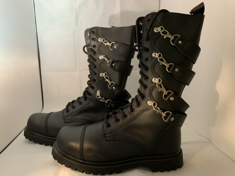 HLS Boots- Men's Punk Industrial Goth 14-eyelet W/4 Straps Boots Size 45 EUR 11