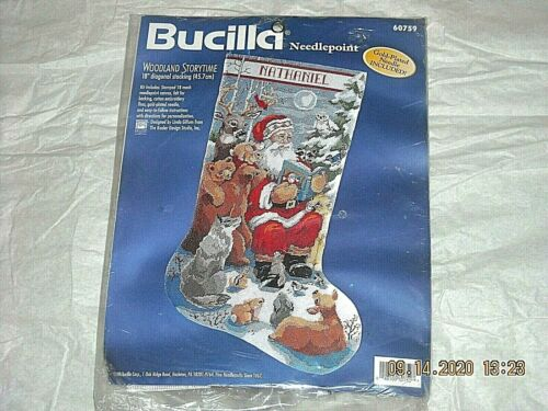 Bucilla Christmas Needlepoint Stocking Kit,WOODLAND STORYTIME,Santa,Animal,60759