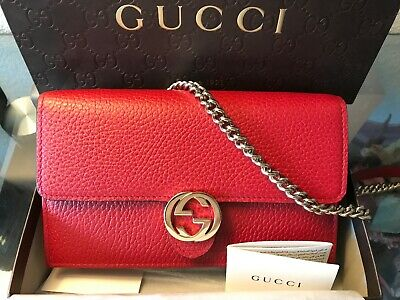 Authentic New GUCCI Dollar Calfskin Interlocking G Chain Wallet Red Est.$1,450