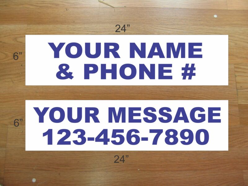 """10 6""""x24"""" White & Blue REAL ESTATE NAME RIDER SIGNS CUSTOM LOWEST PRICE NEW"""