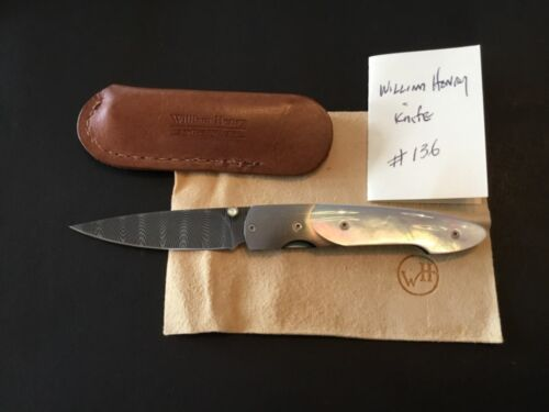 Custom William Henry Knives MOP/Damas Model T-10P Flipper Folder Folding Knife
