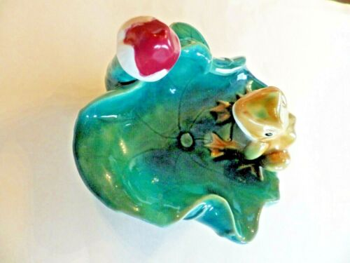 """Frog Sitting on Edge of a 6 1/2"""" Lily Pad  (possible small bird feeder)  Ceramic"""